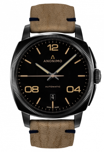 AM-4000.02.292.K19 : Anonimo Epurato Automatic Stainless Steel / DLC / Black / Leather