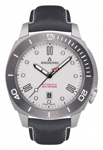 Anonimo AM-1002.04.003.A04 : Nautilo Automatic Stainless Steel / White / Leather