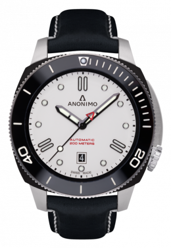 Anonimo AM-1002.05.003.A05 : Nautilo Automatic Stainless Steel / DLC / White / Leather