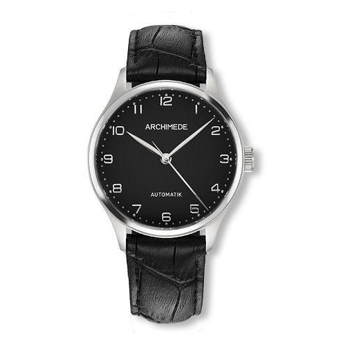 UA4929-A3.21 : Archimede Klassik 36 Stainless Steel / Black / Black Leather