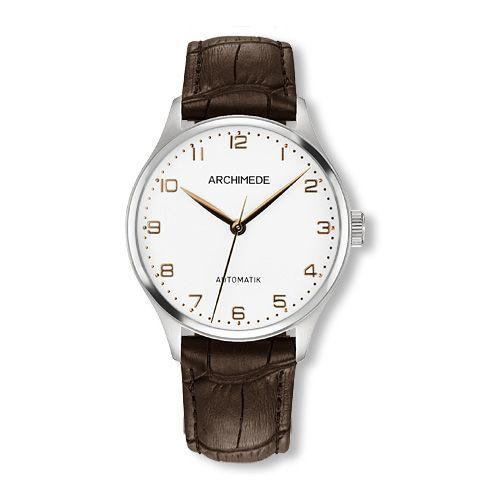 UA4929-A3.32 : Archimede Klassik 36 TwoTone / Silver / Brown Leather