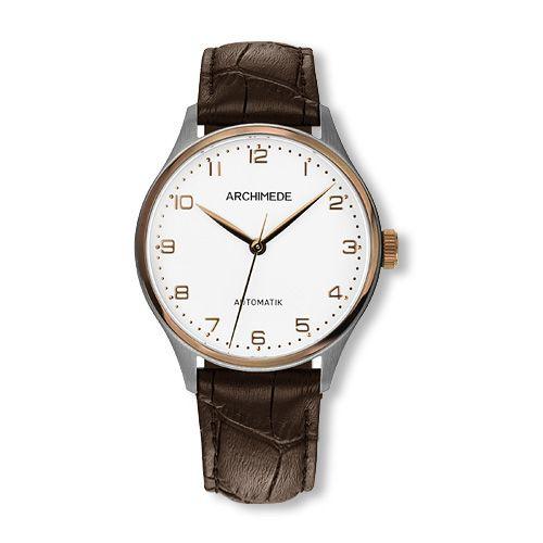 UA4929-A3.32-EG5 : Archimede Klassik 36 TwoTone / Silver / Brown Leather