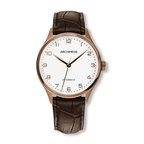 UA4929-A3.32-G5 : Archimede Klassik 36 Gold PVD / Silver / Brown Leather