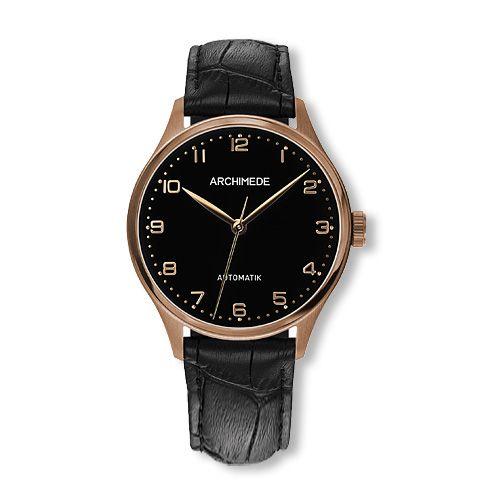UA4929-A3.41-G5 : Archimede Klassik 36 Gold PVD / Black / Black Leather