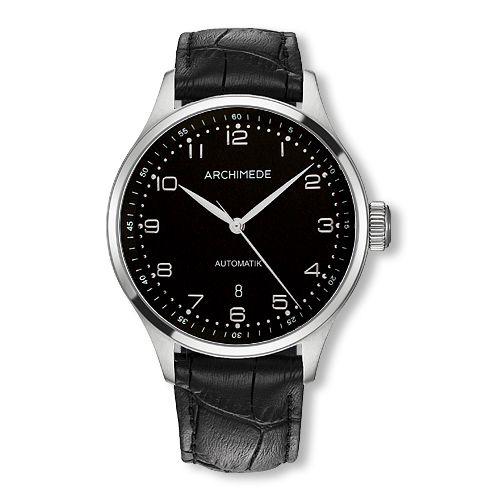 UA7929-A2.1 : Archimede Klassik 42 Stainless Steel / Black / Black Leather