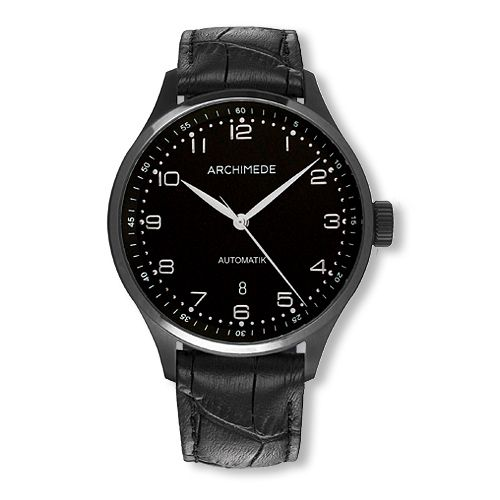 UA7929-A2.1-SW : Archimede Klassik 42 TwoTone Stainless Steel / PVD / Black / Black Leather