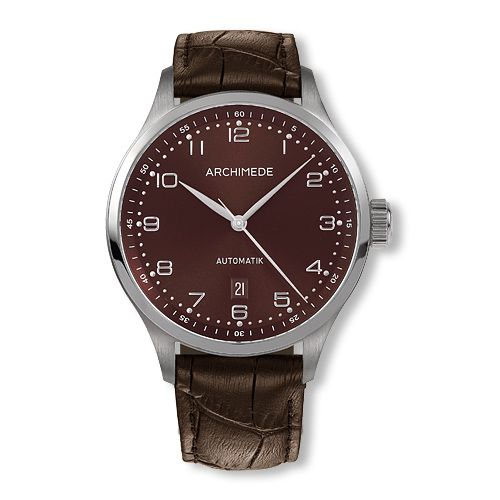 UA7929-A2.10 : Archimede Klassik 42 Stainless Steel / Brown / Brown Leather