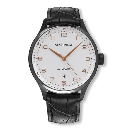 UA7929-A2.6-SW : Archimede Klassik 42 TwoTone Stainless Steel / PVD / Silver / Black Leather