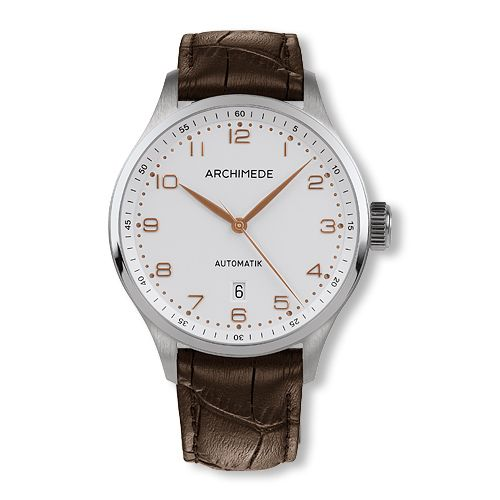 UA7929-A2.7 : Archimede Klassik 42 TwoTone Stainless Steel / Silver / Brown Leather