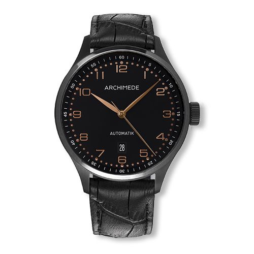 UA7929-A2.8-SW : Archimede Klassik 42 TwoTone Stainless Steel / PVD / Black / Black Leather