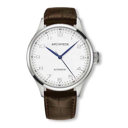 UA7929-M2.12 : Archimede Klassik 42 Stainless Steel / Silver / Brown Leather