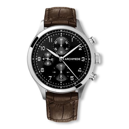 UA7939-C2.32 : Archimede Klassik Chronograph Stainless Steel / Black / Leather