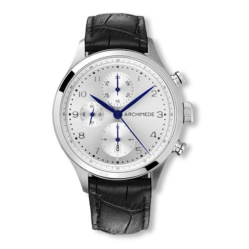UA7939-C2.41 : Archimede Klassik Chronograph Stainless Steel / Silver / Leather
