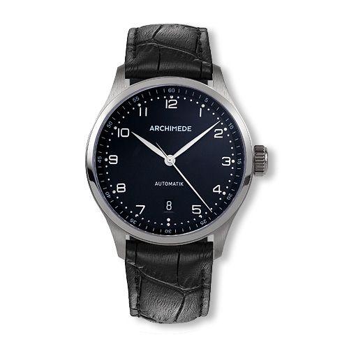 Archimede UA7969-A3.1 : Klassik 39 Stainless Steel / Black / Black Leather