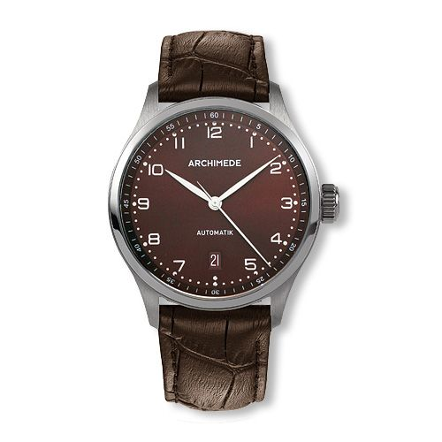 UA7969-A3.10 : Archimede Klassik 39 Stainless Steel / Brown / Brown Leather