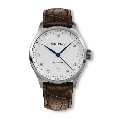 UA7969-A3.4 : Archimede Klassik 39 Stainless Steel / Silver / Brown Leather