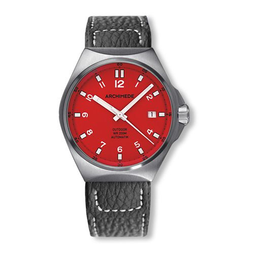 Archimede UA8239-A6.1-H : OutDoor 39 Protect Stainless Steel / Red / Leather