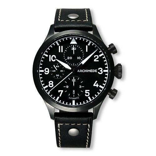 Archimede UA7939-C1.1-SW : Pilot Chronograph PVD / Black