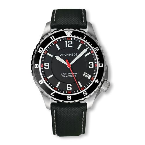 Archimede UA8974-GS-A1.5 : SportTaucher GMT Stainless Steel / Black / Leather
