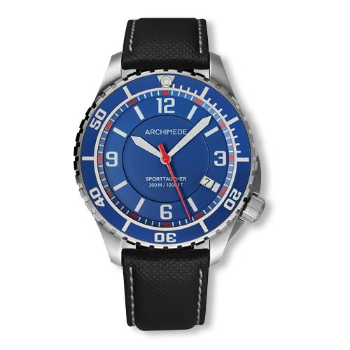 Archimede UA8974-TB-A5.5 : SportTaucher Stainless Steel / Blue / Black Leather
