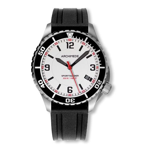 Archimede UA8974-TS-A3.2 : SportTaucher Stainless Steel / White / Rubber