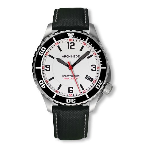Archimede UA8974-TS-A3.5 : SportTaucher Stainless Steel / White / Black Leather