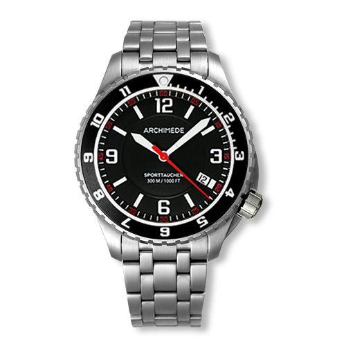 Archimede UA8974B-GS-A1.1 : SportTaucher GMT Stainless Steel / Black / Bracelet