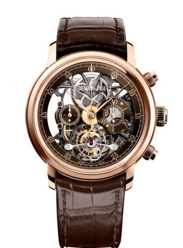 26346OR.OO.D088CR.01 : Audemars Piguet Jules Audemars 26346 Tourbillon Chronograph Openworked Pink Gold