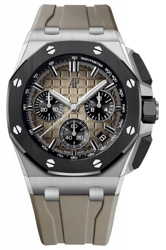 Audemars Piguet 26420SO.OO.A600CA.01 : Royal Oak Offshore 43 Stainless Steel / Ceramic / Taupe