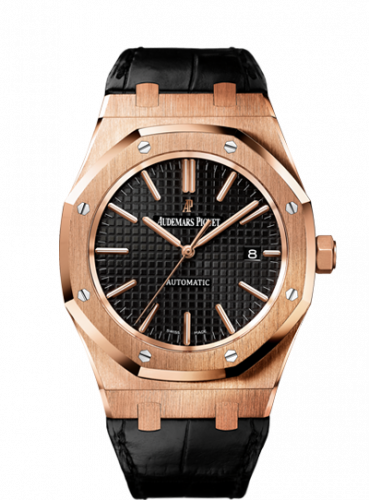 Audemars Piguet 15400OR.OO.D002CR.01 : Royal Oak 15400 Pink Gold / Black / Strap