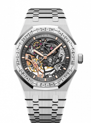 Audemars Piguet 15412BC.ZZ.1220BC.01 : Royal Oak 41 Double Balance Wheel Openworked White Gold / Diamond