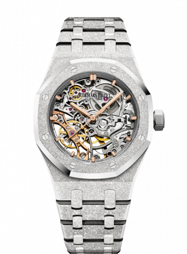 15466BC.GG.1259BC.01 : Audemars Piguet Royal Oak 37 Double Balance Wheel Openworked Frosted White Gold