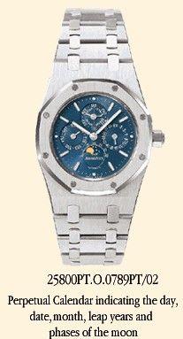 25800PT.O.0789PT.02 : Audemars Piguet Royal Oak 25800 Perpetual Calendar Platinum / Blue