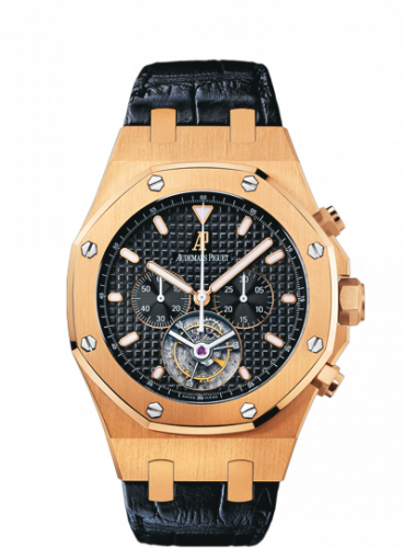 Audemars Piguet 25977OR.OO.D002CR.01 : Royal Oak Tourbillon Chronograph Pink Gold / Black / Strap