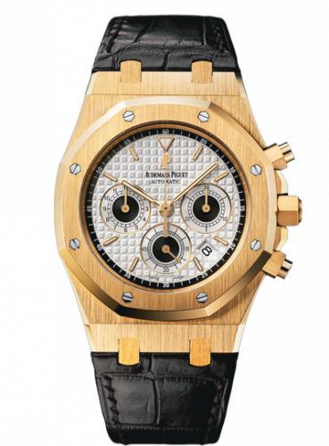 Audemars Piguet 26022BA.OO.D098CR.01 : Royal Oak 26022 Chronograph Yellow Gold / Silver / Strap