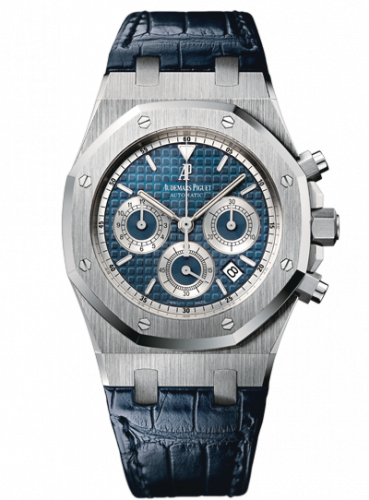 Audemars Piguet 26022BC.OO.D028CR.01 : Royal Oak 26022 Chronograph White Gold / Blue / Strap