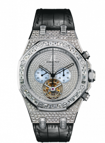 Audemars Piguet 26116BC.ZZ.D002CR.01 : Royal Oak Tourbillon Chronograph White Gold / Diamond / Strap