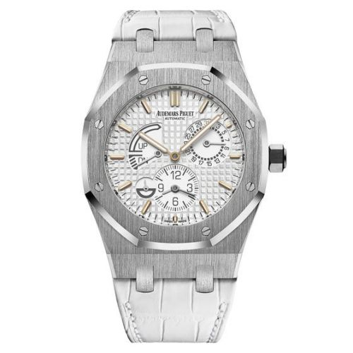 26124ST.OO.D011CR.01 : Audemars Piguet Royal Oak 26124 Dual Time Stainless Steel / White / Strap