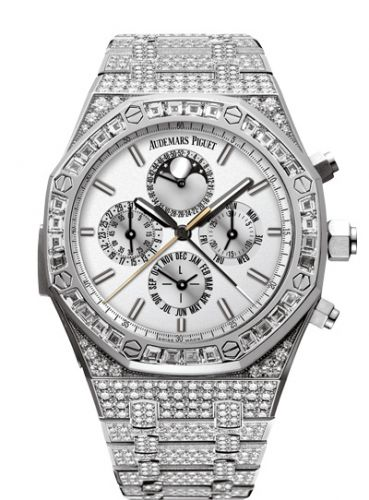 Audemars Piguet 26222BC.ZZ.1197BC.01 : Royal Oak Grande Complication White Gold / Diamond / Silver / Bracelet