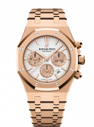 Audemars Piguet 26315OR.OO.1256OR.01 : Royal Oak Chronograph 38 Pink Gold / Silver