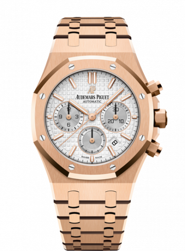 Audemars Piguet 26315OR.OO.1256OR.02 : Royal Oak Chronograph 38 Pink Gold / Silver