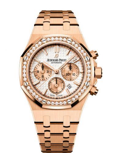 Audemars Piguet 26315OR.ZZ.1256OR.01 : Royal Oak Chronograph 38 Pink Gold / Diamond / Silver