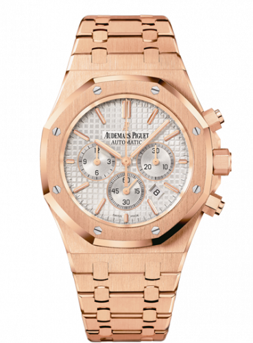 Audemars Piguet 26320OR.OO.1220OR.02 : Royal Oak Chronograph 41 Pink Gold / Silver