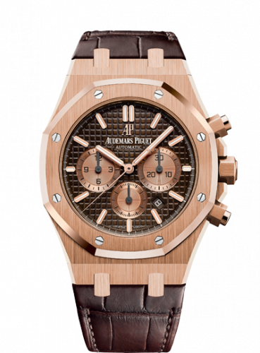 Audemars Piguet 26331OR.OO.D821CR.01 : Royal Oak Chronograph 41 Pink Gold / Brown / Alligator