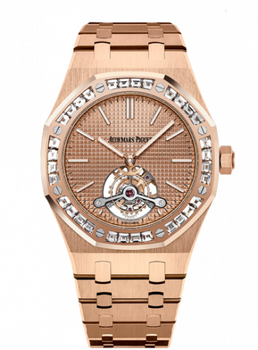 Audemars Piguet 26514OR.ZZ.1220OR.01 : Royal Oak Ultra Thin Tourbillon Pink Gold / Baguette / Westime