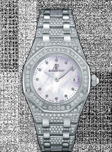 Audemars Piguet 67602BC.ZZ.1212BC.01 : Royal Oak 67602 Quartz White Gold / Diamond / MOP / Bracelet
