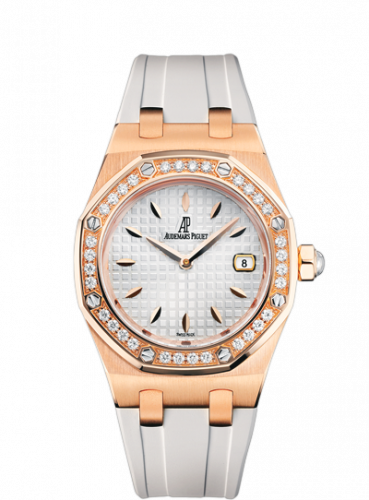 Audemars Piguet 67621OR.ZZ.D010CA.01 : Royal Oak Quartz 67621 Pink Gold / Diamond / Silver / Rubber