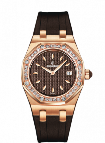 Audemars Piguet 67621OR.ZZ.D080CA.01 : Royal Oak Quartz 67621 Pink Gold / Diamond / Brown / Rubber