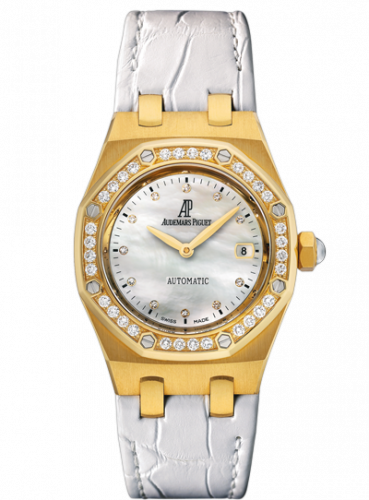 Audemars Piguet 77321BA.ZZ.D012CR.01 : Royal Oak Selfwinding 77321 Yellow Gold / Diamond / MOP / Alligator