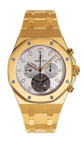 Audemars Piguet 25977BA.OO.1205BA.01 : Royal Oak Tourbillon Chronograph Yellow Gold / Silver